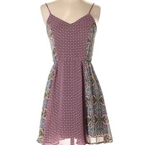 Pink geo patterned and floral print dress